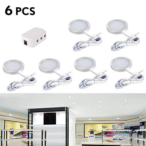 LED Einbaustrahler 6Stk Innen LED Dachflecken Lichter Deckenstrahler Einbauleuchte mit Verteiler Adapter für DC 12V RV Wohnzimmer Schlafzimmer Esszimmer Ausstellungsraum(Kaltes Weiß) (Rv-lichter 12 Led)