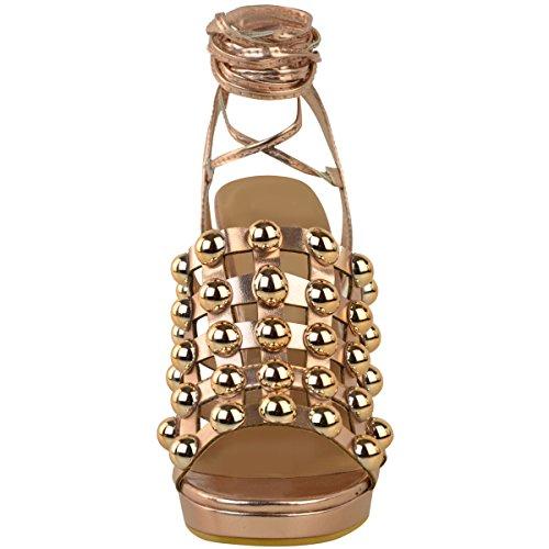 Sandales plateforme à talons hauts - à clous/strass/brides - femme Rose doré métallisé/punk