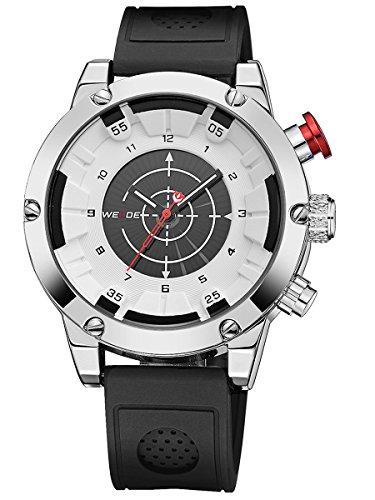 Alienwork Analog-Digital Armbanduhr sport LCD Uhr Herren Uhren Multi Zeitzonen XXL Oversized Silikon weiss schwarz WD.WH-6301