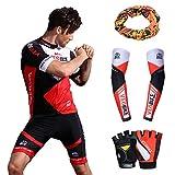 Asvert Malliot de Ciclismo Hombre 3D Cojín Manga Corta Jersey + Pantalones Ropa de Bicicleta Verano Conjunto Ciclista Elástica Equipación Bicicleta Transpirable (Rojo, M)
