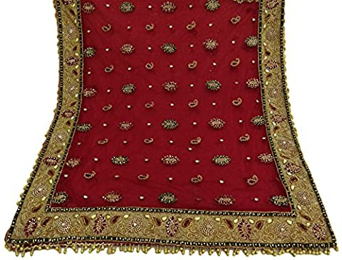 Jahrgang-Dupatta-lange Stola-netrote Hand-wulstige Hochzeits-Wrap-Schleier-Stola Hijab