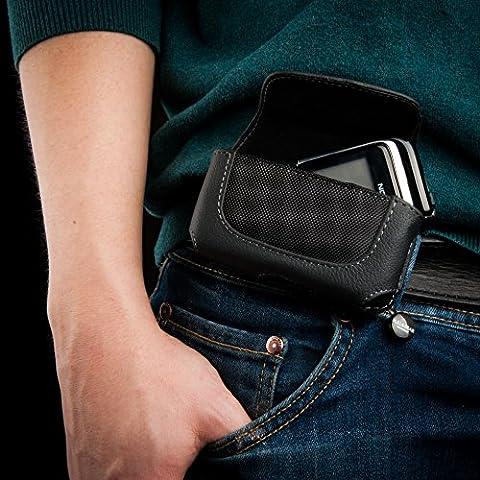 Keple | Leder Etui fur NOKIA 6170 Handy | Schwarz Hulle Tasche Holster Schutz Gurteltasche