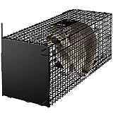 Amagabeli Garden Home Lebendfalle 78x26x29cm Tierfalle als Groß Marderfalle Katzenfalle Fuchsfalle Rattenfalle mit Falltür