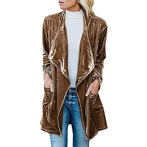 MERICAL Womens Drappo di Velluto Jacket Anteriore Aperto del Cappotto del Cardigan con Tasche(Giallo,S)