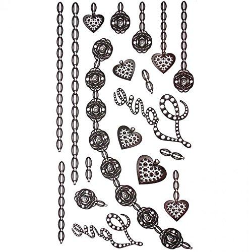 GRASHINE wasserdichte Tattoo-Sticker in schwarz Schmuck tattoo heart-shaped