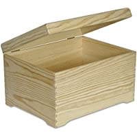 XXL Extra Large Wooden Chest Box Keepsake Wood Plain Unpainted Gift – 40 x 30.5 x 24 cm - with Lid – Without Handles - Perfect for Art, Craft, Storage, Documents, Valuables, Toys & Tools