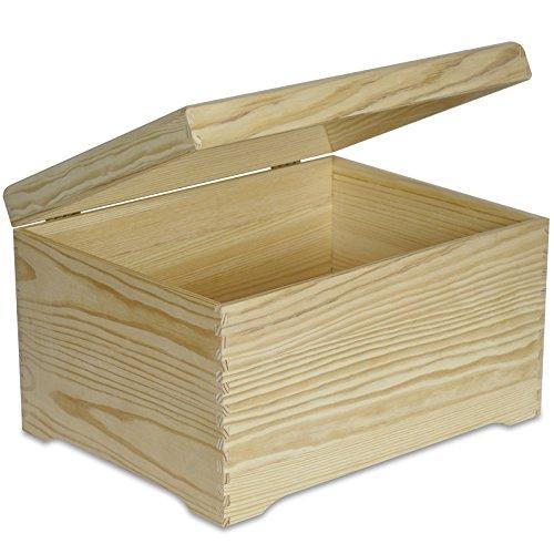 Creative Deco XXL Grande Coffre Boîte de Rangement Bois | 40 x 30,5 x 24 cm | Non Peinte Caisse Malle pour Décorer avec Couvercle | sans Poignées | Parfait pour Jouets, Outils, Documents et Objets