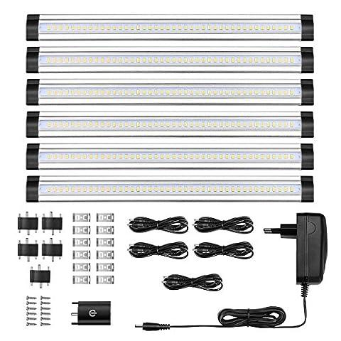 LE 6 x Lampe de Placard LED 1800LM 3000K Lumière Blanc Chaud Lampe sous Cabinet 12V DC Accessoires Inclus pour Placard Armoire Cabinet Meuble Cuisine