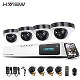 H.View 1080P HD indoor/outdoor Überwaschungskamera Set, 4 x 2.0MP HD Dome-Kamera und 8CH Videorecorder/DVR, Haus Überwachungskamera mit aufnahme und bewegungsmelder ,IR Nachtsicht 40M( eingebaute 1TB Festplatte)
