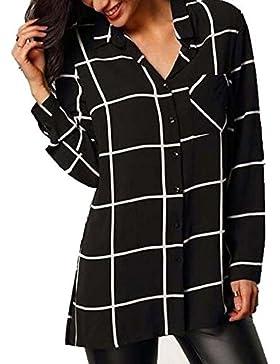 [Patrocinado]Mujeres Casual manga cuello botón blusa larga camisa suelta Tops novio camiseta vestido--Cocoty
