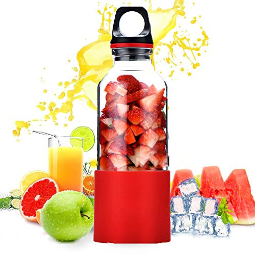 Licuadora Portátil,Mini Batidora De Vaso Para Fruta, jugos de bricolaje, fiestas familiares, fiestas infantiles y deliciosos jugos refrescantes/batidos de hielo.(500ML),Red