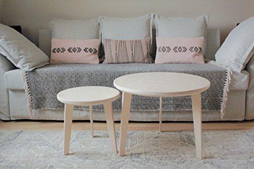 Modern House 2 Tables Basses gigognes, Rondes, Design scandinave en Bois de Bouleau