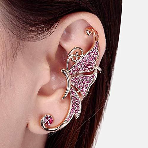 etterling Ohrclip Mode Blume Ohr Knochen Clip On Ear Cuff Ohrringe Kein Pierce, Rosa ()