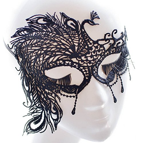 Schwarze Kostüm Gesichtsmaske - Hacoly Pfau Maskenball Gesichtsmasken Damen Lace Spitze Venetian Karneval Maskerade Venetianische Maske Cosplay Augenmaske Maskenspiel Gesichtsmaske Gothic Ausschnittmaske Kostüm - Schwarz