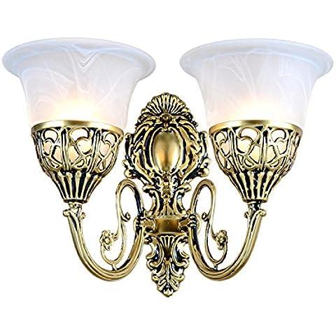Europei retro parete lampada lampada da comodino caldo pastorale specchio lampada LED singola-doppia parete bronzo lampada lampade da parete,Monotesta