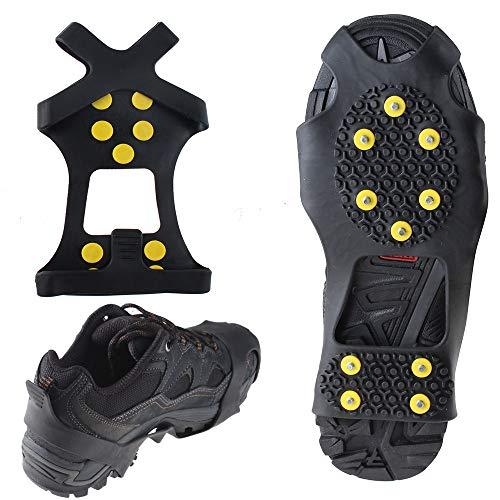 WADEO Steigeisen für Bergschuhe, Schuhe Spike mit Edelstahl Zähne und Silikon Band Anti Rutsch auf EIS und Schnee für Wandern Bergschuhe Stiefel usw S