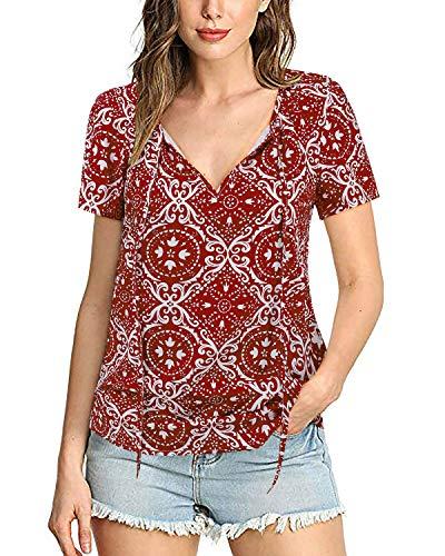 SOLERSUN Blusen für Frauen Sommer, Frauen Loose Fit Tuniken für Leggings Damen Sexy V-Ausschnitt Tops Cute Shirts für Mädchen Rot XL Chiffon Square Neck