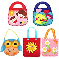 Yuccer Set de Costura Niños, Kits de Costura para Niñas Creativas Juguetes de Coser Pare Decorar y Jugar, 5 Pack
