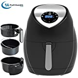 FRITTEUSE OHNE FETT HEISSLUFT-FRITTEUSE DIGITAL MULTI FRITTEUSE HEISSLUFT ECO-AIR-PROFI DC-1400W (schwarz, digitales Touch-Bedienfeld) -