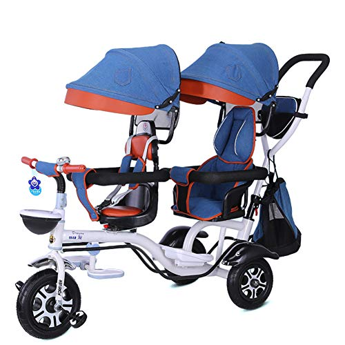 Double Children's Tricycle 4 in 1 Trike, Twin Stroller Comfort Two-Seat 3 Wheel Bicycle for Kids with Rotatable Seat, Infant Child Trolley for Age from 6 Months to 6 Years,Denim-blue