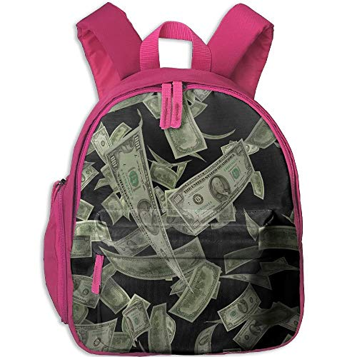 Money Dollar Pattern Double Zipper Waterproof Children Schoolbag Backpacks with Front Pockets for Youth Boys Girl