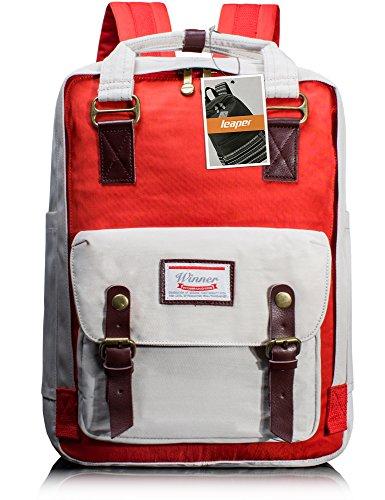 Leaper Multifonction Sac à dos imperméable voyage sac à dos ordinateur portable bleu foncé rouge&blanche