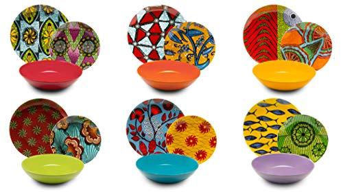 Excelsa Afrika vajilla de 18Piezas, Porcelana y cerámica, Multicolor