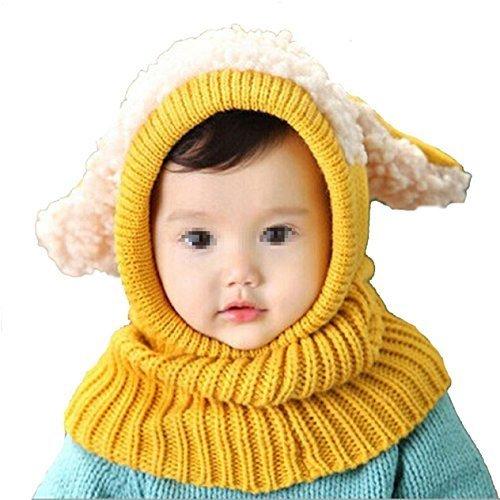 Butterme Winter Baby Kinder Mädchen Jungen Warme Wollene Haube Strickmütze Schal Mützen Wolle Hüte Gelb