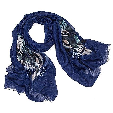 AOLOSHOW - Echarpe - Imprimé Animal - Femme - Bleu - Large