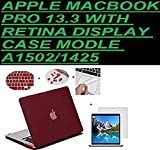 "Go Crazzy Macbook Pro 13-Inch With Retina Display Case Cover Rubberized With Hard Case Cover For Macbook Pro 13"" 13.3"" 13-Inch With Retina Display Shell Cover Case + Get Silicone Keyboard Guard ++LCD Screen Protector+ Touchpad Protector +12 Pc Dust Plugs For Macbook Pro 13"" 13.3"" 13-Inch With Retina DisplayA1502/A1425 Wine Red"