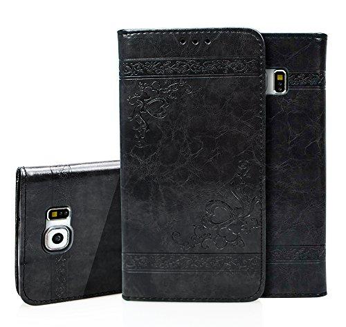 Para Samsung Galaxy S6 Funda, Ecoway Serie de patrones en relieve(Negro) Cuero...