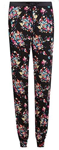 Ladies Famous Make Black Floral Cuff Pyjama Bottoms. Sizes 8 to 22 - 51DeCCIOR4L - Ladies Famous Make Black Floral Cuff Pyjama Bottoms. Sizes 8 to 22