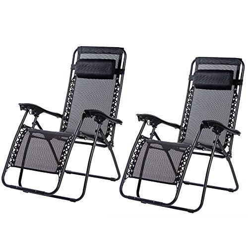 2 x Liegestuhl | Verstellbar Kopfpolster Schwerelosigkeit Oxford Stahl Fußschoner | Garten Liege Hochlehner Gartenstuhl Schwarz