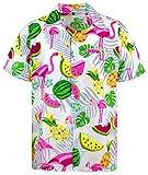 Funky Hawaiihemd, Kurzarm, Flamingos Melonen, Weiß, M