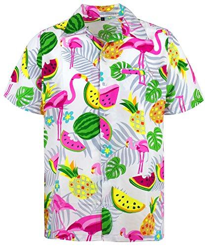 King Kameha Funky Hawaiihemd, Kurzarm, Flamingos Melonen, Weiß, ()