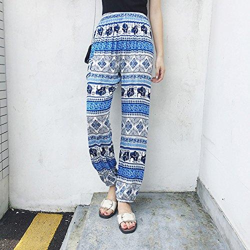 Feminines Seiden-pants (GAOLIM Yoga Hosen Sommer Lockerer Baumwolle Breite-Legged Blume Baumwolle 9-Point Beach Pants, Xl, Baumwolle Seide Elefant Blau Und Weiß)