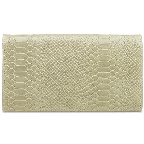 CASPAR TL722 Damen echt Leder Envelope Clutch Tasche Abendtasche mit Kroko Prägung Beige