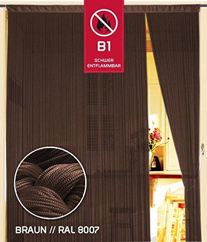 Fadenvorhang 150 cm x 300 cm hellbraun in B1 schwer entflammbar