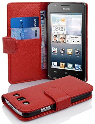 Cadorabo Hülle für Huawei Ascend G525/ G520 Hülle in INFERNO Rot Handyhülle mit Kartenfach aus Struktriertem Kunstleder Case Cover Schutzhülle Etui Tasche Book Klapp Style Inferno-Rot