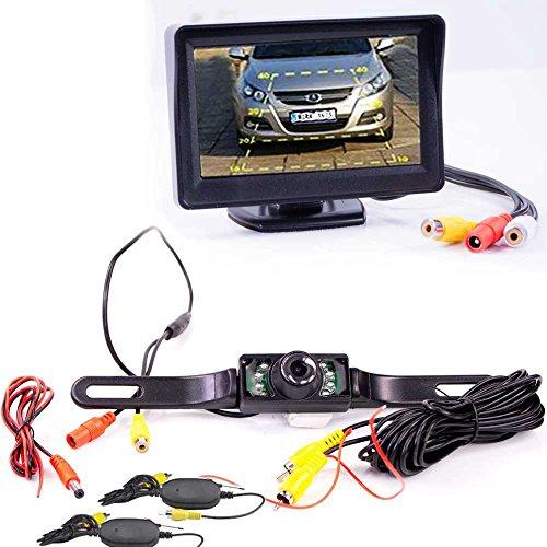 Drahtlose Kabellose Rückfahrkamera mit Hilfslinien und FARB Monitor - LED Nachtsicht für PKW Auto, Kleine Bus und Motorrad - Rear View Camera