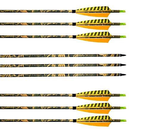 Pfeile Carbon Kohlenstoff Bogenpfeile Archery sharly, 31 zoll Camo Pfeile mit Naturfeder für traditionelle Bogen, Recurvebogen und Langbogen (6 Stück)
