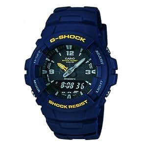 Casio - Homme - G-100-2BVMUR - G-Shock - Quartz Analogique et Digital - Alarme - Chronographe - Rétro Eclairage - Bleu - Résine