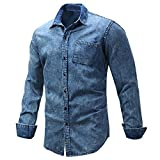 HUIMEIDE Herren Jeanshemd Freizeithemd Langarmhemd Cowboy-Bluse Knöpfe Hemd Solide Langarmshirt Slim Fit Bluse (XXXL)