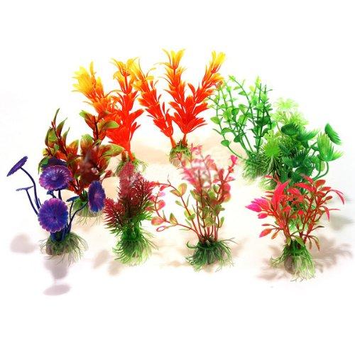 SODIAL(R) 10 x Mixte Artificiel Aquarium Reservoir de Poissons Plante Aquatique Plastique Decoration Ornement