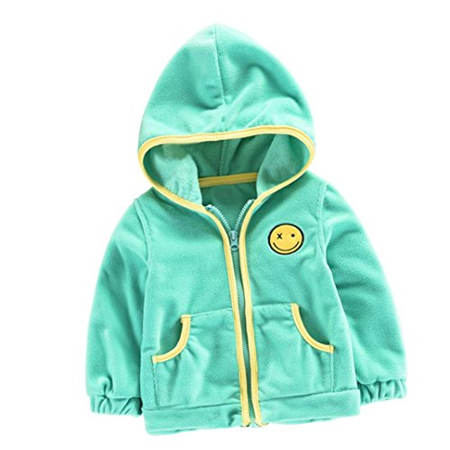 VENMO Neue Unisex Kinder Hoodies Kapuzenshirt mit Reißverschluss Sweatshirt Fleece-Tops Pullover Jacke Winter Smiling face Dicke Kapuzenjacke Mantel Umhang Jacke warme Kleidung (24M-36M, Green) Denim Fleece-sweatshirt