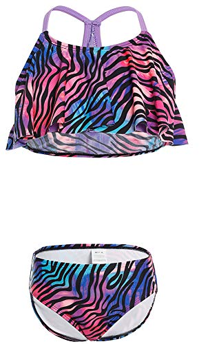 DUSISHIDAN Bikinis fürKinder Mädchen Bikini Zweiteiliger bademode Schwimmanzug süß Swimsuit Schöner Druck Lila Zebra L Lila Zebra
