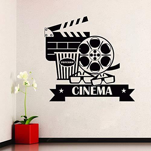 yiyitop Kino Wandaufkleber Abnehmbare Vinyl Movie House Wandtattoo Popcorn Kinematographie Dekoration Kino Destign Wand Poster 42 * 40 cm