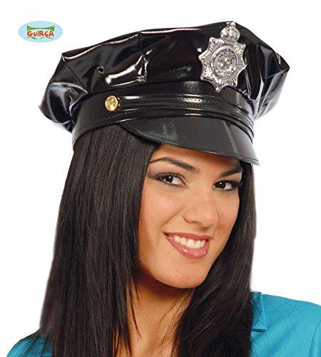 (Guirca Sexy Polizei Mütze im Latex Look für Erwachsene)