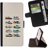 For Sony Xperia M5 E5603 E5606 E5653 Case , Scarpe Sneakers Fashion Design beige Grafico - Portafoglio in pelle della Carta di Credito fessure PU Holster Cover in pelle case