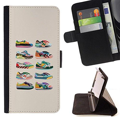 For Motorola Moto E ( 1st Generation ) Case , Scarpe Sneakers Fashion Design beige Grafico - Portafoglio in pelle della Carta di Credito fessure PU Holster Cover in pelle case